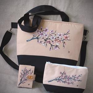 """Kézzel festett \""""Cseresznye virág\"""" nagy táska  szett, Táska & Tok, Kézitáska & válltáska, Nagy pakolós táska, Festett tárgyak, Varrás, A szett tartalmaz egy irattartót , neszeszert és a táskát . \nSaját tervezésű, készítésű, szabad kézz..., Meska"""