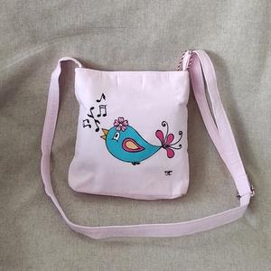 """Kézzel festett \"""" kis madaras \"""" gyerek táska, Táska & Tok, Kézitáska & válltáska, Tarisznya, Festett tárgyak, Varrás, Saját tervezésű, készítésű, szabad kézzel festett \"""" kis madaras\"""" gyerek táska kb.: 2-6 éves korig. A..., Meska"""