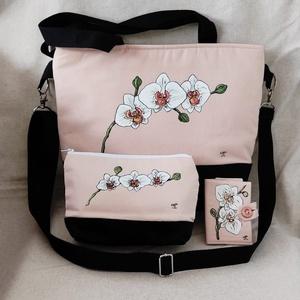 """Kézzel festett \""""Orchideás\"""" nagy táska  szett, Táska & Tok, Kézitáska & válltáska, Nagy pakolós táska, Festett tárgyak, Varrás, A szett tartalmaz egy irattartót , neszeszert és a táskát . \nSaját tervezésű, készítésű, szabad kézz..., Meska"""