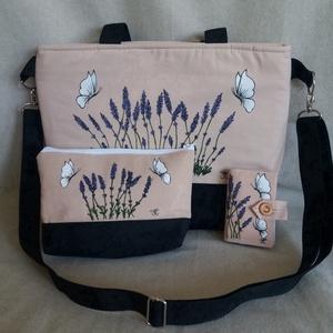 """Kézzel festett \""""Levendulás\"""" nagy táska  szett, Táska & Tok, Kézitáska & válltáska, Nagy pakolós táska, Festett tárgyak, Varrás, A szett tartalmaz egy irattartót , neszeszert és a táskát . \nSaját tervezésű, készítésű, szabad kézz..., Meska"""