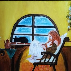 Lány és cica, Otthon & lakás, Képzőművészet, Festmény, Akril, Festészet, 50x70 cm-es fa keretre feszített vászonkép.Akril festék felhasználásával készült.\nMinden rajta van a..., Meska