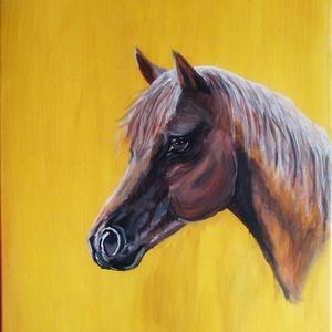 Ló, Akril, Festmény, Művészet, Festészet, 50x70cm-es fakeretre feszített vászon.\nAkril festmény.\nEgy kedves ismerősöm korosodó lovacskája ihle..., Meska