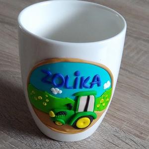 Traktoros bögre és kiskanál vagy villa szett (kacatOK) - Meska.hu