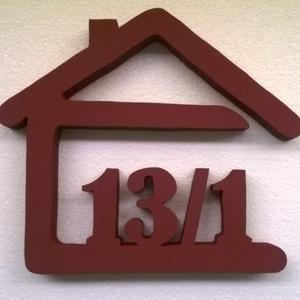 Házikós házszám -3 számjegyű ill. karakter, Házszám, Ház & Kert, Otthon & Lakás, Mindenmás,  Ez a dekoratív házszám22x28cm nagyságú, 3 cm vastagságú, sima felületű Styrodur-ból készült.Időjárá..., Meska