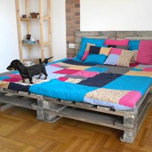 Raklap stílusú ágy, raklapágy, raklap franciaágy, deszka ágy, Bútor, Otthon & lakás, Ágy, Famegmunkálás, Raklap stílusú ágy NEM raklapból. Hogy mit jelent ez? Hát azt, hogy úgy néz ki, mintha raklapból len..., Meska