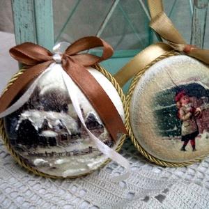Karácsonyfa dísz, akril medál 2db, Otthon & Lakás, Karácsony & Mikulás, Karácsonyfadísz, Decoupage, transzfer és szalvétatechnika, Festett tárgyak, Csodálatos téli papírokból és 7 cm-es akril medálokból készült karácsonyfa díszek, melyek akár önáll..., Meska
