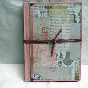 Jegyzetfüzet, napló - Női titkok, jegyzetek, emlékek, Otthon & Lakás, Papír írószer, Jegyzetfüzet & Napló, Decoupage, transzfer és szalvétatechnika, Festett tárgyak, Szép, régies hatású, barna színű lapokkal készült jegyzetfüzet, napló. \nNagyszerű ajándék lehet pl. ..., Meska
