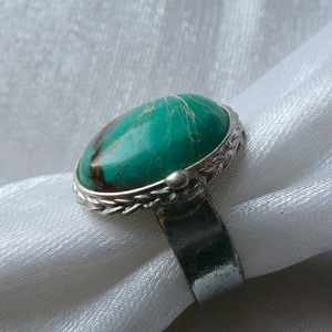 Üledéki jáspis gyűrű, Statement gyűrű, Gyűrű, Ékszer, Ékszerkészítés, Fémmegmunkálás, Saját tervezésű egyedi kézműves alkotás.\n\nA gyűrű Tiffany technikával kézült üledéki jáspis ( varisz..., Meska