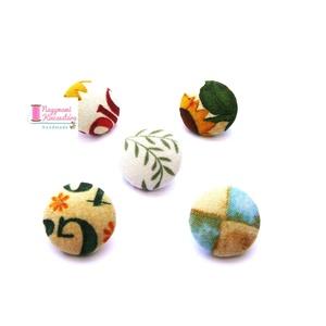Nagy gomb szett (Kert), Ruha & Divat, Öv & Övcsat, Egyéb kellék, Mindenmás, Leírása: Behúzott gomb szett. A csomag 5 db különböző mintájú gombot tartalmaz.\n\nSzíne és mintázata:..., Meska