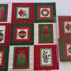 Patchwork anyag (Karácsony 2.), Textil, Pamut, Varrás, Mindenmás, Kiváló minőségű angol patchwork szövet. A képen egy kiterített anyag látható, melyen látható a telje..., Meska