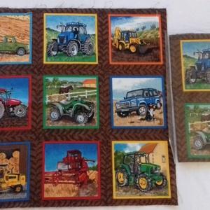 Patchwork anyag (Traktor), Textil, Pamut, Varrás, Mindenmás, Kiváló minőségű angol patchwork szövet. A képen egy kiterített anyag látható, melyen látható a telje..., Meska