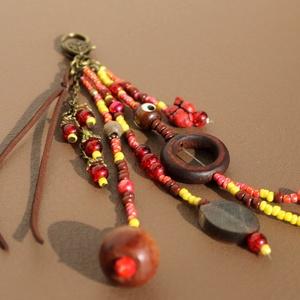 Piros bőrfityegős táskadísz vagy kulcstartó, Táska & Tok, Kulcstartó & Táskadísz, Táskadísz, , Meska