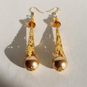 Arany gyöngyös fülbevaló 8cm estére-partyra!, Ékszer, Lógó fülbevaló, Fülbevaló, Gyöngyfűzés, gyöngyhímzés, Meska