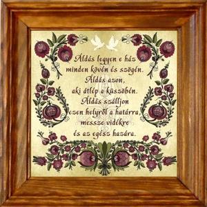 Falikép Házi Áldás szűrhímzés motívummal #41 - Meska.hu