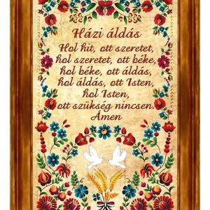 Falikép Házi Áldás kalocsai motívummal #3, Házi áldás, Spiritualitás & Vallás, Otthon & Lakás, Famegmunkálás, ★ Nézd meg a többi faliképünket is:\nhttps://www.meska.hu/Shop/index/25012/55660\n\n★ További termékein..., Meska