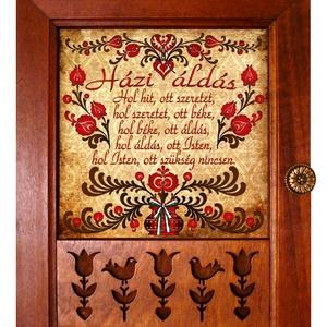 Kulcstartó szekrény, kulcsos szekrény tulipános Házi Áldás motívummal #11, Kulcstartó szekrény, Bútor, Otthon & Lakás, Famegmunkálás, ♥ Vásárlás esetén egy függesztékkel ellátott medált adunk ajándékba!\n\n✿ Nézd meg a többi kulcstartón..., Meska