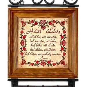 Kulcsakasztó, kulcstartó Áldás tulipános motívummal #66, Otthon & lakás, Lakberendezés, Falikép, Esküvő, Nászajándék, Táska, Divat & Szépség, Magyar motívumokkal, Famegmunkálás, Kerámia, ❶⓿.⓿⓿⓿ Ft feletti vásárlás (postaktg. nélkül) esetén egy magyar motívumos medált adunk ajándékba! \n\n..., Meska