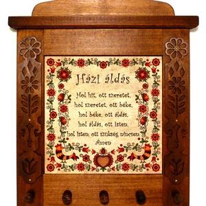 Kulcsakasztó, kulcstartó Házi áldás rábaközi motívummal #57, Kulcstartó szekrény, Bútor, Otthon & Lakás, Famegmunkálás, Kerámia, ❶⓿.⓿⓿⓿ Ft feletti vásárlás (postaktg. nélkül) esetén egy magyar motívumos medált adunk ajándékba! \n\n..., Meska