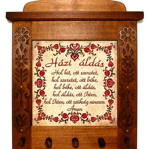 Kulcsakasztó, kulcstartó Áldás tulipános motívummal #66, Kulcstartó szekrény, Bútor, Otthon & Lakás, Famegmunkálás, Kerámia, ❶⓿.⓿⓿⓿ Ft feletti vásárlás esetén egy magyar motívumos medált adunk ajándékba! \n(a 10.000 Ft a megvá..., Meska