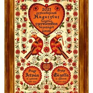 Házasságkötés Falikép egyedi nevekkel rábaközi madaras motívummal #10, Esküvő, Emlék & Ajándék, Nászajándék, Kerámia, Famegmunkálás, Egy igazán különleges, egyedi házasságkötési ajándék nagyméretű kerámia faliképen.\nA motívum a párvá..., Meska