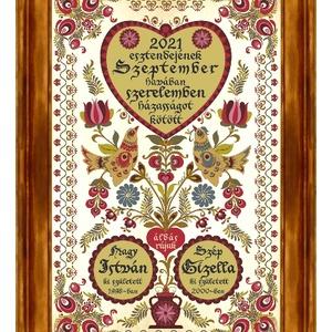 Házasságkötés Falikép egyedi nevekkel madaras szűrhímzés motívummal #11, Esküvő, Emlék & Ajándék, Nászajándék, Famegmunkálás, Kerámia, Egy igazán különleges, egyedi házasságkötési ajándék nagyméretű kerámia faliképen.\nA motívum a párvá..., Meska