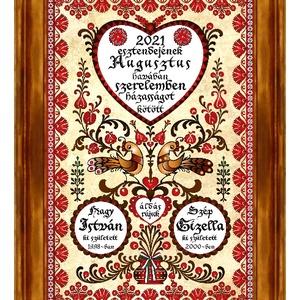 Házasságkötés Falikép egyedi nevekkel madaras tulipánfás motívummal #12, Esküvő, Emlék & Ajándék, Nászajándék, Famegmunkálás, Kerámia, Egy igazán különleges, egyedi házasságkötési ajándék nagyméretű kerámia faliképen.\nA motívum a párvá..., Meska