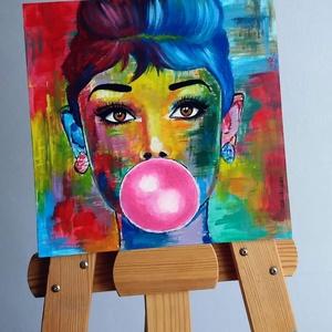 Audrey, Művészet, Festmény, Akril, Festett tárgyak, Festészet, Egyedi, saját készítésű  absztrakt portré.\nAkrillal készült farostra.\nLakkozott.\nFalra akasztható.\n2..., Meska