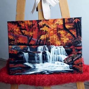 """Ősz, Művészet, Festmény, Akril, Festett tárgyak, Egyedi, saját készítésű \""""Ősz\"""" c. Festményem, amegy egy csodálatos őszi tájat ábrázol.\nAkril- vászon...., Meska"""