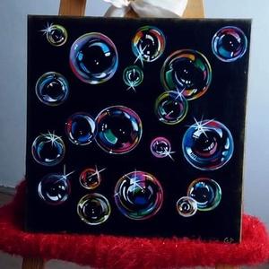 """Bubbles, Művészet, Festmény, Akril, Festett tárgyak, Egyedi, saját készítésű \""""Bubbles\"""" c. Festményem, amely a vidámságot tükrözi.\nAkril-vászon.\n40x40cm.\n..., Meska"""