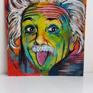 Einstein, Művészet, Festmény, Akril, Festészet, Egyedi, saját készítésű Albert Einstein absztrakt portré. \nA kép mérete : 25×25cm\nAkrillal készűlt f..., Meska
