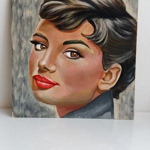 Audrey , Művészet, Festmény, Akril, Festészet, Egyedi, saját készítésű Audrey Hepburn portré festmény.\nA kép akrillal készűlt farostra.\nA kép méret..., Meska