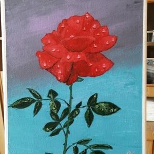 Rózsa eső után , Otthon & lakás, Képzőművészet, Festmény, Akril, Festészet, Akril festmény 24x30 cm-es, feszített vásznon, keret nélkül, képakasztóval ellátva. , Meska
