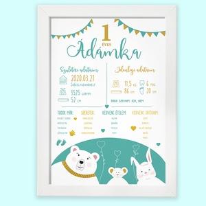 Keretezett első születésnapi babaposzter állatkás illusztrációkal, Művészet, Grafika & Illusztráció, Egyedi tervezésű, névre szóló babaposzter. Saját adatokkal A3 méretben, őzikés illusztrációval, fehé..., Meska