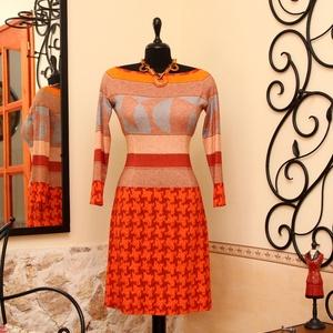 Bájos ruha sütőtök árnyalatokban, Táska, Divat & Szépség, Női ruha, Ruha, divat, Ruha, Varrás, Vigyél színt a szürke hétköznapokba...\n\nKülönleges mintaátmenetes dekoratív ruha.\n\nDekoratív, 3/4-es..., Meska