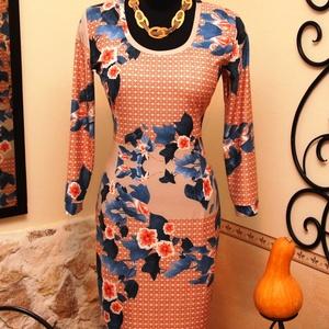 Narancs-korall ruha varázslatos kék levelekkel, Táska, Divat & Szépség, Női ruha, Ruha, divat, Ruha, Varrás, Vigyél színt a szürke hétköznapokba...\n\nGyönyörű  színvilágú, különleges  hangulatú ruha.\n\nDekoratív..., Meska