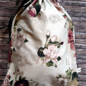 Romantikus rózsás kenyereszsák PUL béléssel, NoWaste, Bevásárló zsákok, zacskók , Otthon & lakás, Konyhafelszerelés, Kenyértartó, Varrás, Elég volt a papírszalvétákból, nejlonzacskókból, fóliába csomagolt uzsonnákból, eldobható műanyag cs..., Meska