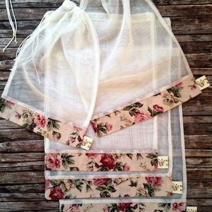 Romantikus rózsás  tüll öko tasak szett 5 darabos, NoWaste, Bevásárló zsákok, zacskók , Otthon & lakás, Konyhafelszerelés, Lakberendezés, Tárolóeszköz, Varrás, Elég volt a papírszalvétákból, nejlonzacskókból, fóliába csomagolt uzsonnákból, eldobható műanyag cs..., Meska