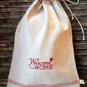 Welcome home hímzett lenvászon kenyere zsák, NoWaste, Bevásárló zsákok, zacskók , Otthon & lakás, Konyhafelszerelés, Kenyértartó, Varrás, Elég volt a papírszalvétákból, nejlonzacskókból, fóliába csomagolt uzsonnákból, eldobható műanyag cs..., Meska