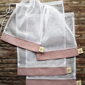 Mályva - szürke pöttyös öko tasak szett 4 darabos, NoWaste, Bevásárló zsákok, zacskók , Otthon & lakás, Konyhafelszerelés, Lakberendezés, Varrás, Elég volt a papírszalvétákból, nejlonzacskókból, fóliába csomagolt uzsonnákból, eldobható műanyag cs..., Meska