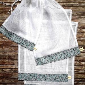 Türkiz  -szürke inda mintás  öko tasak szett 4 darabos normál méret, NoWaste, Bevásárló zsákok, zacskók , Otthon & lakás, Konyhafelszerelés, Lakberendezés, Tárolóeszköz, Varrás, Elég volt a papírszalvétákból, nejlonzacskókból, fóliába csomagolt uzsonnákból, eldobható műanyag cs..., Meska