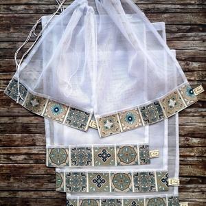 Marokkói mozaik Öko tasak szett 5 db  , Táska & Tok, Bevásárlás & Shopper táska, Zöldség/Gyümölcs zsák, Varrás, Elég volt a papírszalvétákból, nejlonzacskókból, fóliába csomagolt uzsonnákból, eldobható műanyag cs..., Meska