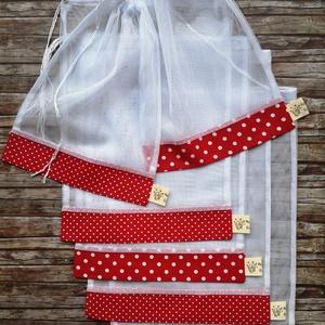Piros pöttyös mix  öko tasak szett 6 darabos, NoWaste, Bevásárló zsákok, zacskók , Otthon & lakás, Konyhafelszerelés, Lakberendezés, Tárolóeszköz, Varrás, Elég volt a papírszalvétákból, nejlonzacskókból, fóliába csomagolt uzsonnákból, eldobható műanyag cs..., Meska
