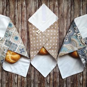 Újraszalvéta szett pöttyös, mandalás, marokkói  3 darabos, Táska & Tok, Uzsonna- & Ebéd tartó, Szendvics csomagoló, Varrás, Elég volt a papírszalvétákból, nejlonzacskókból, fóliába csomagolt uzsonnákból, eldobható műanyag cs..., Meska