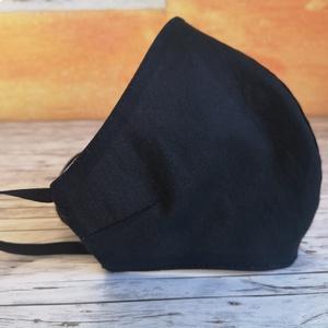 Fekete háromrétegű arcmaszk, maszk , NoWaste, Textilek, Kendő, Táska, Divat & Szépség, Szépség(ápolás), Egészségmegőrzés, Maszk, szájmaszk, Varrás, Három rétegű pamut vászonból készült, melybe háromba hajtott  papír zsebkendő, papírtörlő vagy kiszá..., Meska