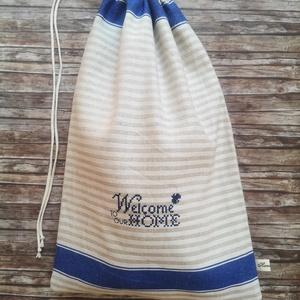 Welcome home hímzett rusztikus vászon kenyeres zsák, NoWaste, Bevásárló zsákok, zacskók , Otthon & lakás, Konyhafelszerelés, Kenyértartó, Varrás, Elég volt a papírszalvétákból, nejlonzacskókból, fóliába csomagolt uzsonnákból, eldobható műanyag cs..., Meska