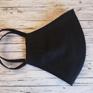Fekete ergonomikus arcmaszk, maszk több méretben, NoWaste, Textilek, Kendő, Táska, Divat & Szépség, Szépség(ápolás), Egészségmegőrzés, Maszk, szájmaszk, Varrás, Fekete színben\nErgonomikus arcmaszk két rétegű pamutvászonból: Az orr tetejétől az áll aljáig valami..., Meska