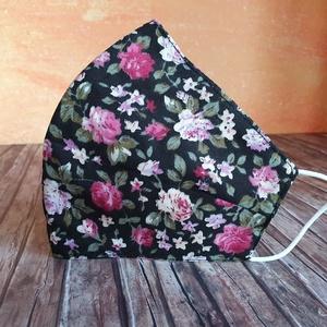 Rózsaszín, fekete virágos arcmaszk, maszk , NoWaste, Textilek, Kendő, Táska, Divat & Szépség, Szépség(ápolás), Egészségmegőrzés, Maszk, szájmaszk, Varrás, Rózsaszín, fekete virágos \nErgonomikus arcmaszk két rétegű pamutvászonból: Az orr tetejétől az áll a..., Meska