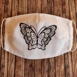 Pillangós hímzett kétrétegű arcmaszk, maszk , NoWaste, Textilek, Kendő, Táska, Divat & Szépség, Szépség(ápolás), Egészségmegőrzés, Maszk, szájmaszk, Varrás, Hímzés, Pillangó mintájú gépi hímzett kétrétegű 100% pamut szájmaszk. Az orr tetejétől az áll aljáig a telje..., Meska