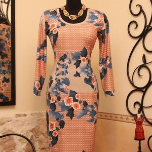 Narancs-korall ruha varázslatos kék levelekkel, Ruha & Divat, Női ruha, Ruha, Varrás, Vigyél színt a szürke hétköznapokba...\n\nGyönyörű  színvilágú, különleges  hangulatú ruha.\n\nDekoratív..., Meska