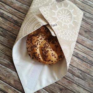 Mandala mintás újraszalvéta, Táska & Tok, Uzsonna- & Ebéd tartó, Szendvics csomagoló, Varrás, Elég volt a papírszalvétákból, nejlonzacskókból, fóliába csomagolt uzsonnákból, eldobható műanyag cs..., Meska